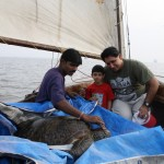Viraf & Vijay with Olio on the sail boat